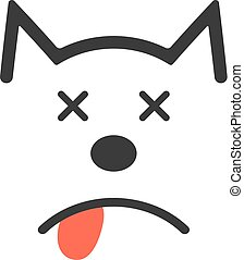 simple dead dog icon. concept of poisoning, poor diet, loss,...