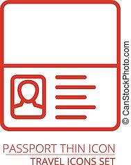 simple, delgado, pasaporte, línea, contornos, icono