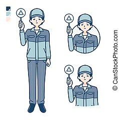 A Man wearing workwear with Put out a Triangle panel image.It's vector art so it's easy to edit.