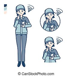 A woman wearing workwear with Holding a smartphone and troubled images.It's vector art so it's easy to edit.