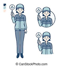 A woman wearing workwear with Put out a Triangle panel image.It's vector art so it's easy to edit.
