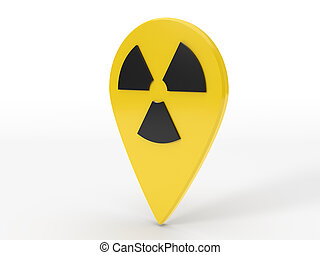 simple design of map locator pin with nuclear symbol.