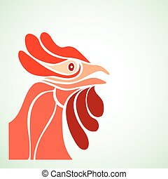 simple design rooster's head