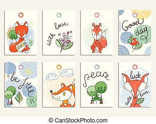 Simple designs in scandinavian style, collection of cards with foxes