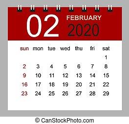 Simple desk calendar for February 2020. Week starts Sunday. Isolated vector illustration.