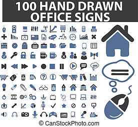simple, dibujado, 100, señales de mano