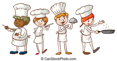 simple, dibujos, chefs