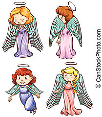 simple, dibujos, de, ángeles