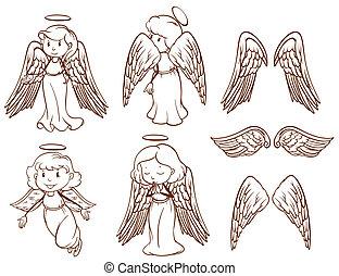 simple, dibujos, de, ángeles, y, su, alas