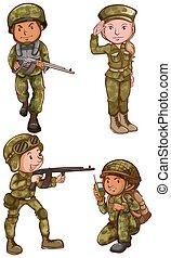 simple, dibujos, soldados