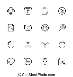 Simple different web icons. Set icons for app, programs, sites: stopwatch, smart watch, chat, heart, support, photo, camera and other. Editable stroke