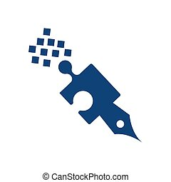 simple digital pen data logo and vector icon