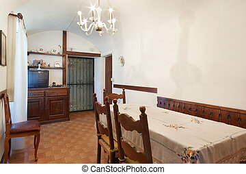 Simple dining room in old house