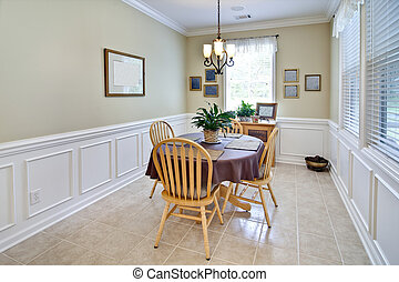 simple diningroom - simple dining room with wainscot and...