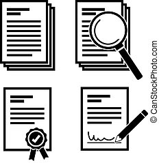 simple document and search document with magnifying glass icon set vector