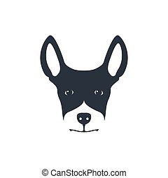 Simple dog head on white background.
