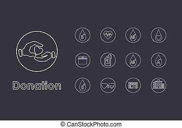 simple, donation, ensemble, icônes