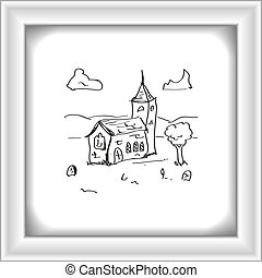 Simple doodle of a church