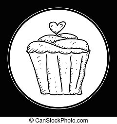 Simple doodle of a cup cake