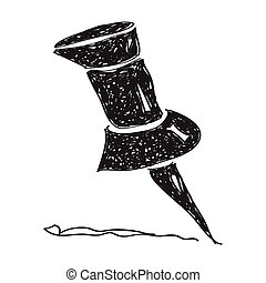 Simple doodle of a drawing pin - Simple hand drawn doodle of...