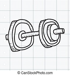 Simple doodle of a dumbell - Simple doodle of a hand drawn...