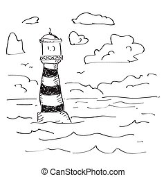 Simple doodle of a lighthouse