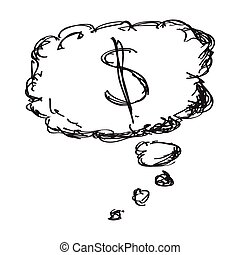 Simple doodle of a money thought
