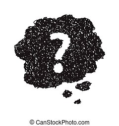 Simple doodle of a question mark thought bubble