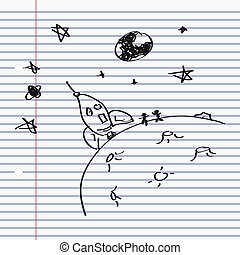 Simple doodle of a rocket on the moon
