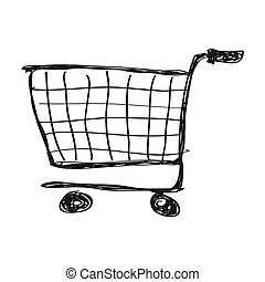 Simple doodle of a shopping trolley - Simple hand drawn ...