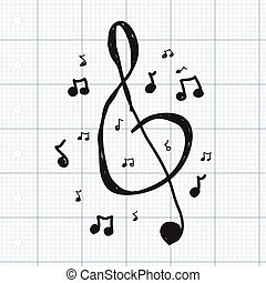 Simple doodle of music symbols