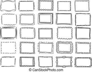 Simple doodle page border decoration. A hand drawn doodle ...