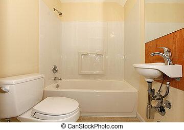 simple, dormitorio, con, tina plástica, y, diminuto,...