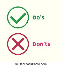 Simple dos and donts like checklist. flat graphic outline ...