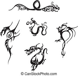 Five awesome simple dragon tattoo designs. Vinyl-ready EPS Illustrations, black and white sketches.