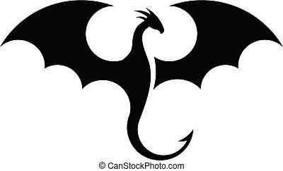 simple, dragones, siluetas, logotipo