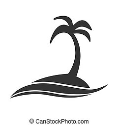 Simple editable icon. An island with a palm tree in the sea