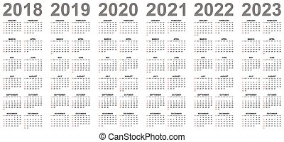 Simple editable vector calendars for year 2018 2019 2020 ...