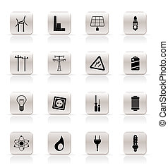 simple, electricidad, iconos