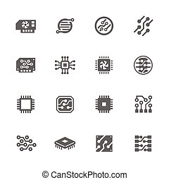Simple Set of Electronics Related Vector Icons. Contains such icons as circuit, processor, microscheme and more.