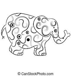 simple, elefante, contorno, zentangle, estilo