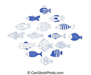 Simple, elegant and stylish collection of modern hand drawn fish illustrations, logos, design