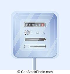 simple, energía, doméstico, metro, hours., análogo, style., electricidad, aislado, fondo., eléctrico, medición, plano, kilovatio, eléctrico, colorido, ilustración, dispositivo, luz, consumido, vector, o