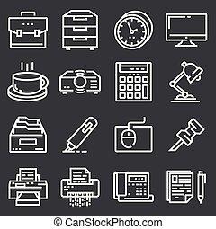 simple, ensemble, de, bureau, vecteur, ligne, icônes