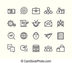 simple, ensemble, de, business, vecteur, ligne mince, icons.eps