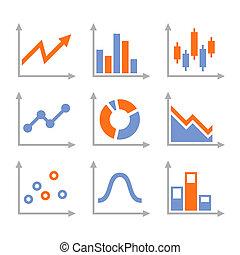 simple, ensemble, de, diagramme, et, graphs., vecteur