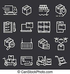 simple, ensemble, de, livraison, vecteur, ligne, icônes