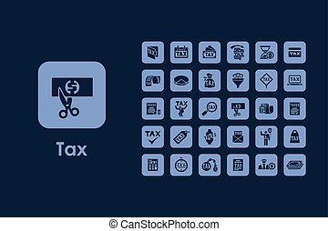 simple, ensemble, impôt, icônes