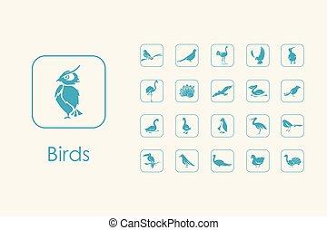 simple, ensemble, Oiseaux, icônes
