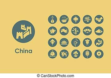 simple, ensemble, porcelaine, icônes
